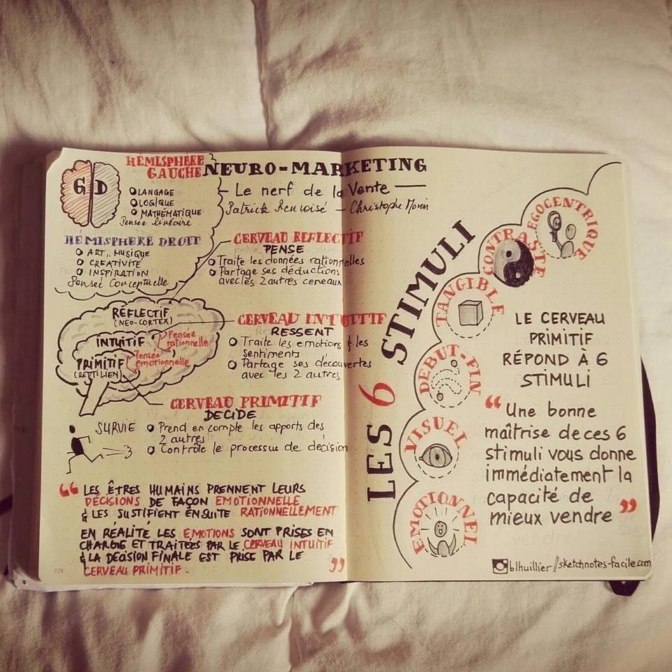 Le neuromarketing sketchnoté par Béatrice Lhuiller Retrouve-la sur www.sketchnotes-facile.com/