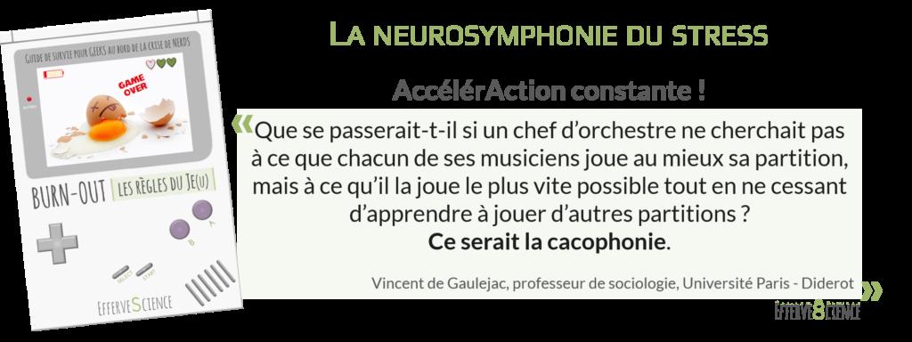 Que se passerait-t-il si un chef d'orchestre ne cherchait pas à ce que chacun de ses musiciens joue au mieux sa partition, mais à ce qu'il la joue le plus vite possible tout en ne cessant d'apprendre à jouer d'autres partitions ? Ce serait la cacophonie. Vincent de Gaulejac, professeur de sociologie, Université Paris - Diderot